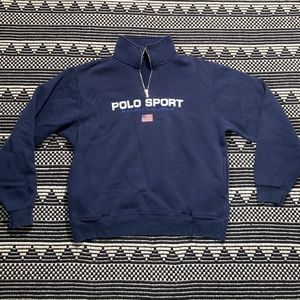 Vintage Polo Sport Men's Quarter Zip Pullover